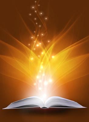 Akashic Records Book Emitting Light Rays